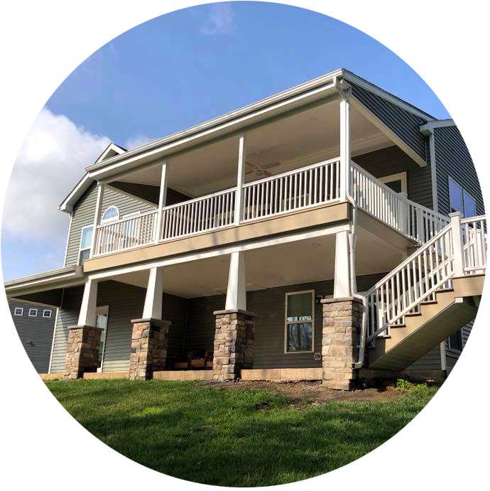 Two-story deck with masonry