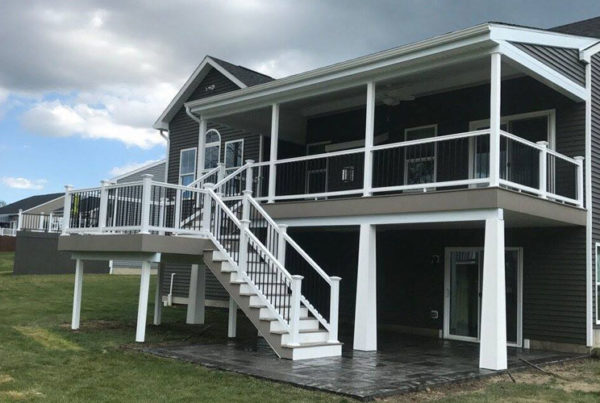 Deck with covering and stairs