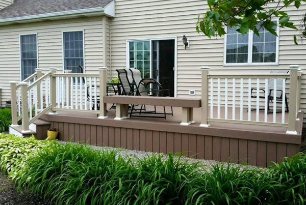 Deck with bench and railing