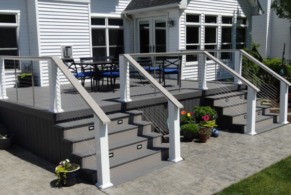 Custom deck design with two sets of stairs