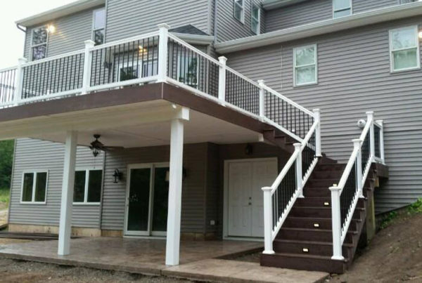 Second story deck and railing with stairs